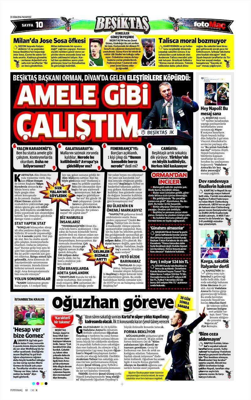 31 Ekim 2016   Gazetelerin Beşiktaş sayfaları 4