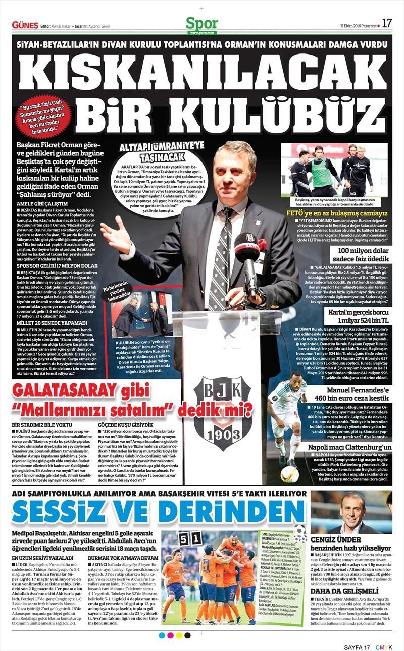 31 Ekim 2016   Gazetelerin Beşiktaş sayfaları 5