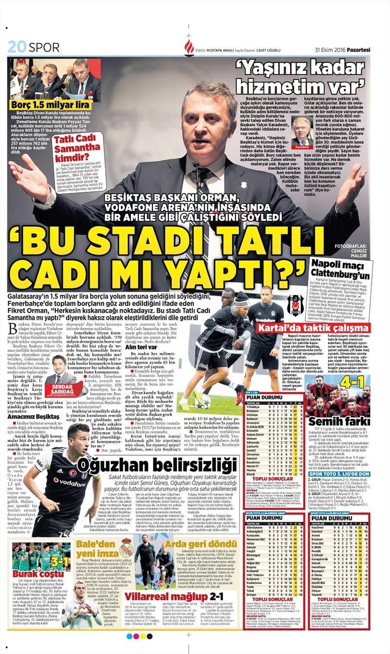 31 Ekim 2016 | Gazetelerin Beşiktaş sayfaları 8