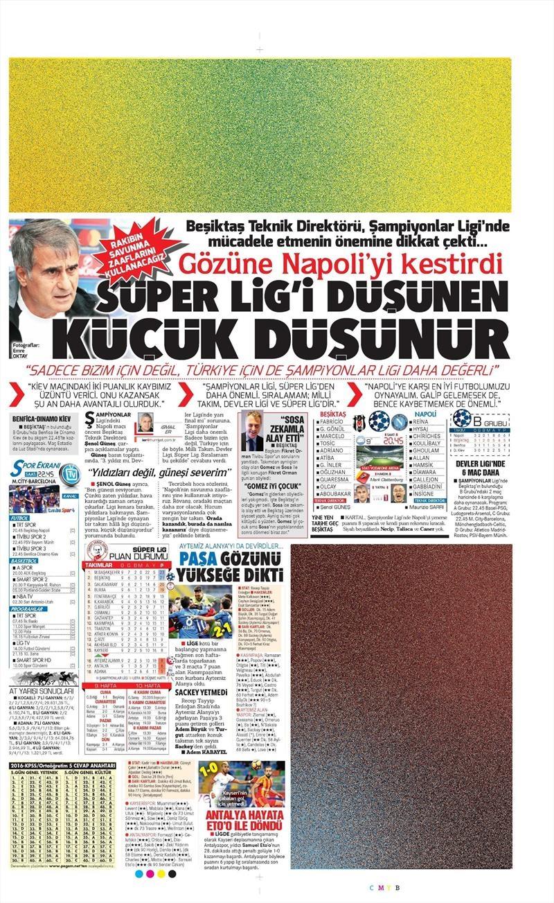 1 Kasım 2016 | Gazetelerin Beşiktaş sayfaları 11