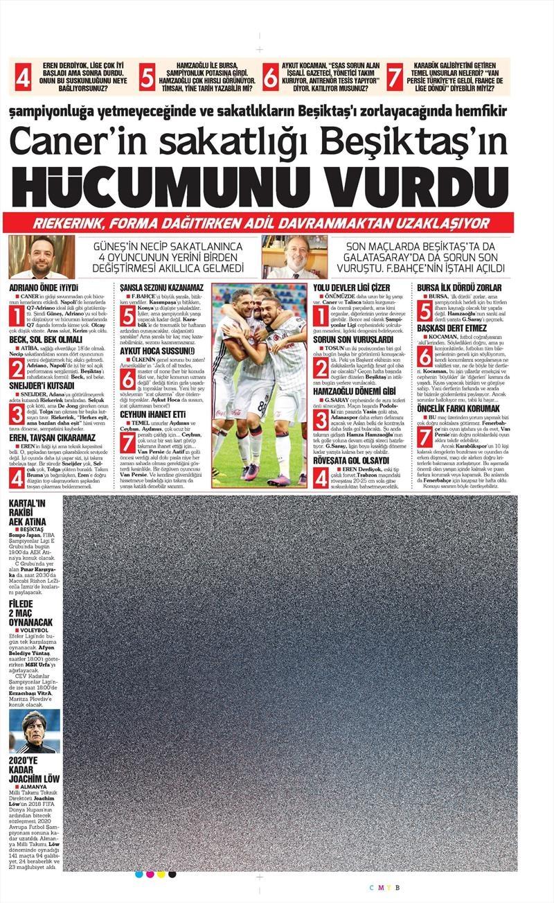 1 Kasım 2016 | Gazetelerin Beşiktaş sayfaları 12