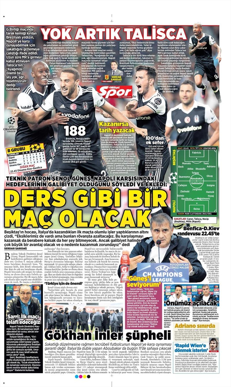 1 Kasım 2016   Gazetelerin Beşiktaş sayfaları 13