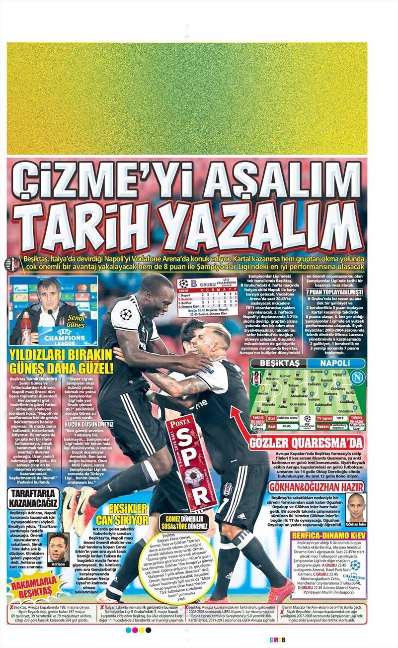 1 Kasım 2016   Gazetelerin Beşiktaş sayfaları 14