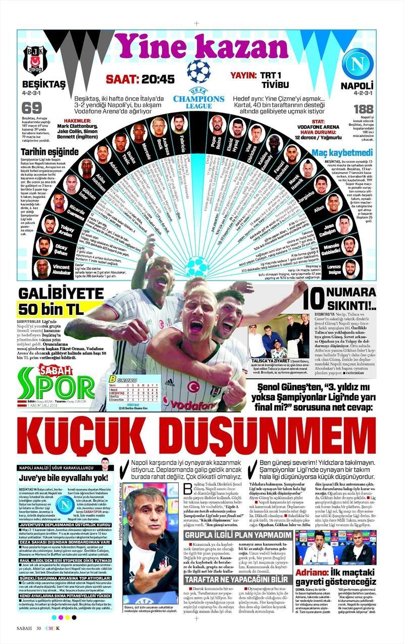 1 Kasım 2016 | Gazetelerin Beşiktaş sayfaları 15