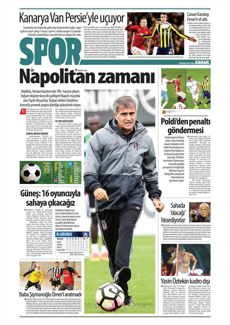 1 Kasım 2016 | Gazetelerin Beşiktaş sayfaları 17