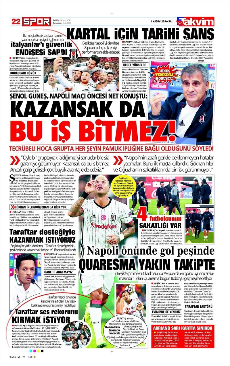 1 Kasım 2016   Gazetelerin Beşiktaş sayfaları 19