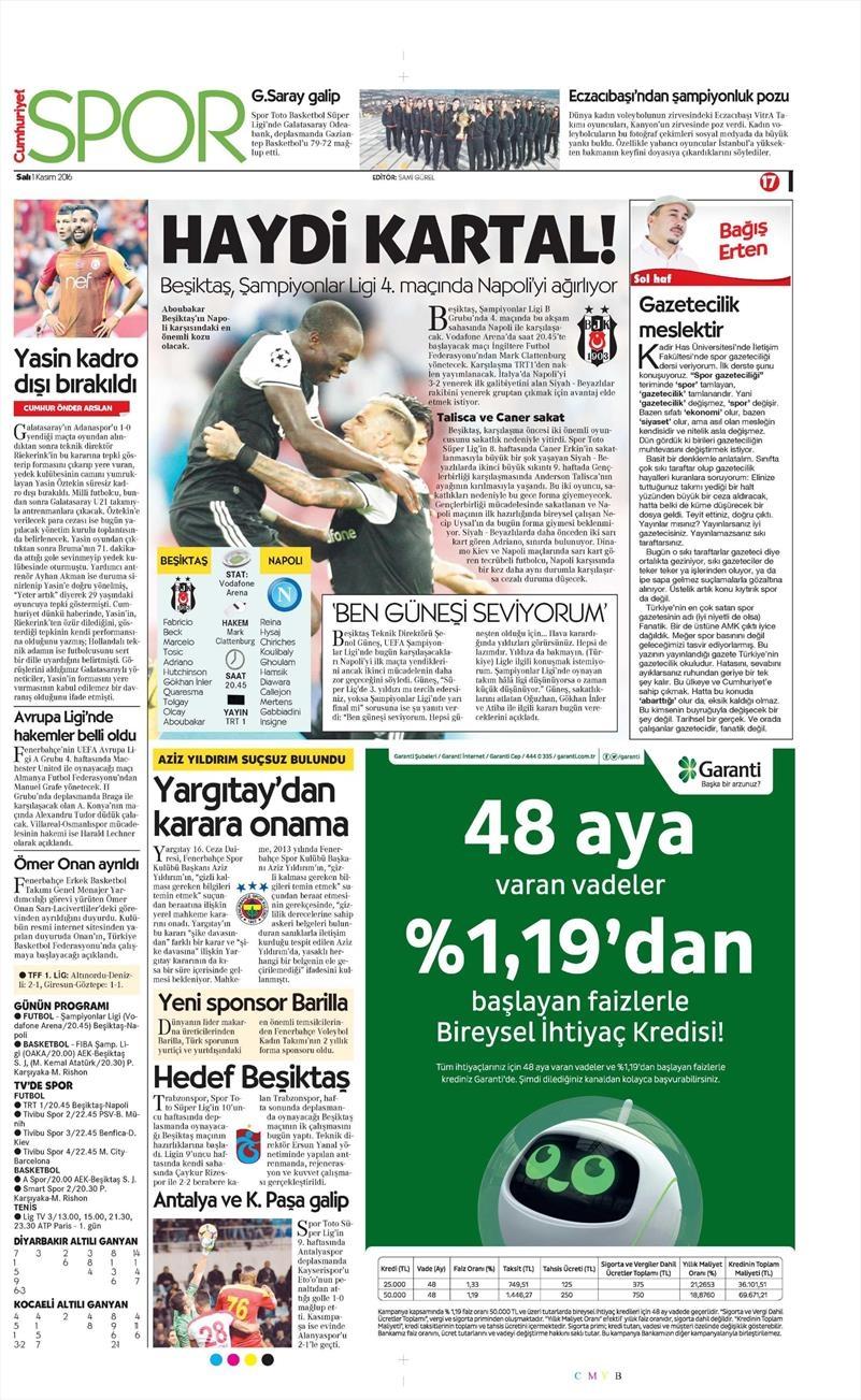1 Kasım 2016 | Gazetelerin Beşiktaş sayfaları 2