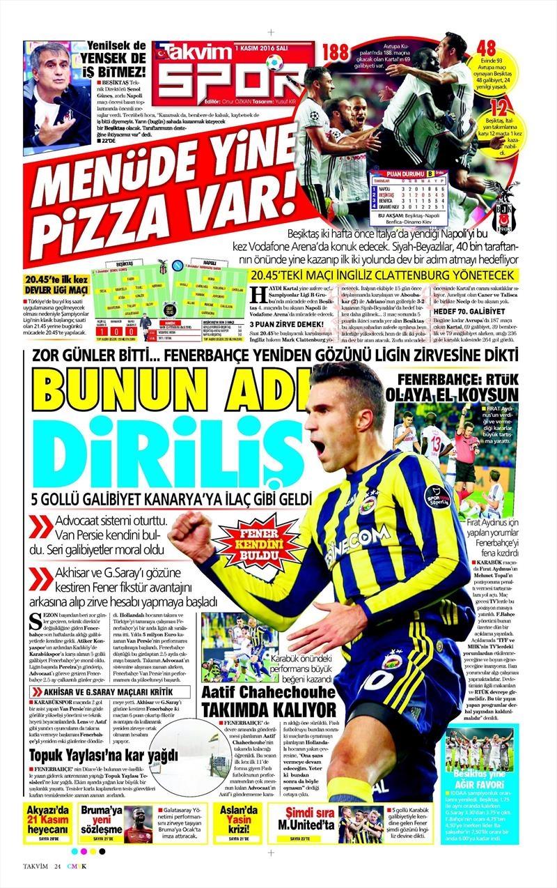1 Kasım 2016 | Gazetelerin Beşiktaş sayfaları 20