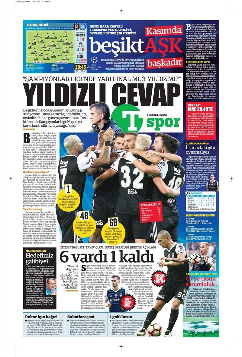 1 Kasım 2016   Gazetelerin Beşiktaş sayfaları 21
