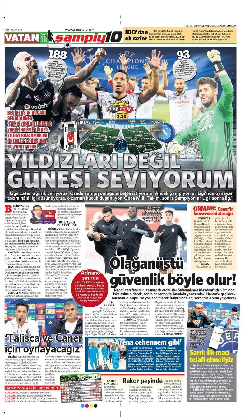 1 Kasım 2016 | Gazetelerin Beşiktaş sayfaları 22