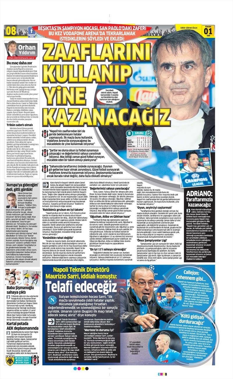 1 Kasım 2016 | Gazetelerin Beşiktaş sayfaları 4