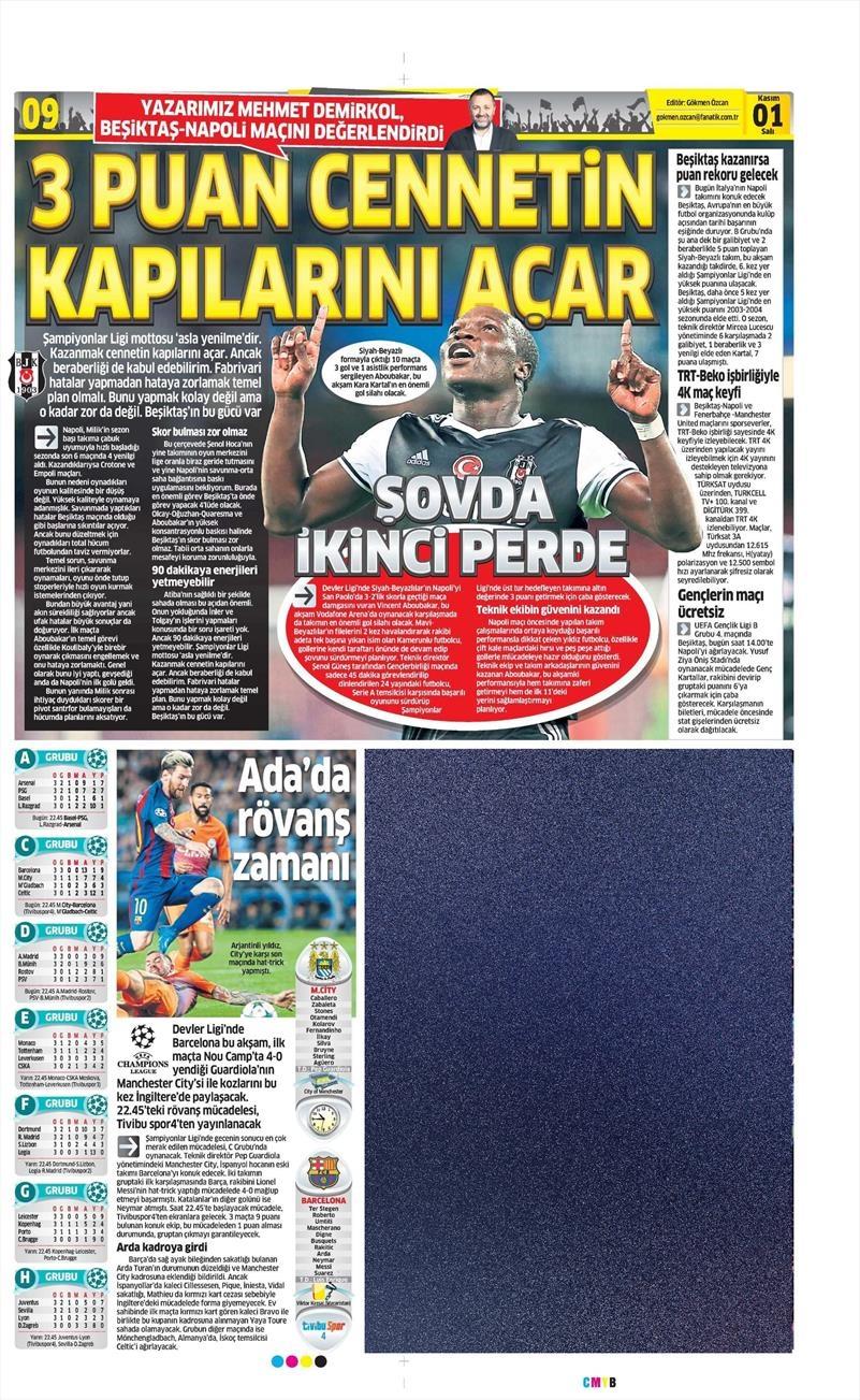 1 Kasım 2016 | Gazetelerin Beşiktaş sayfaları 5