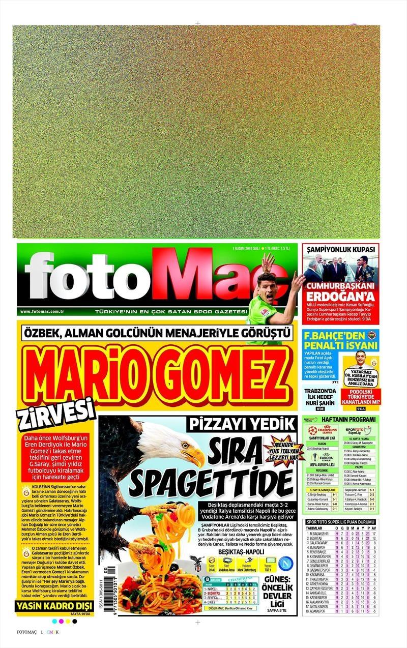 1 Kasım 2016 | Gazetelerin Beşiktaş sayfaları 6