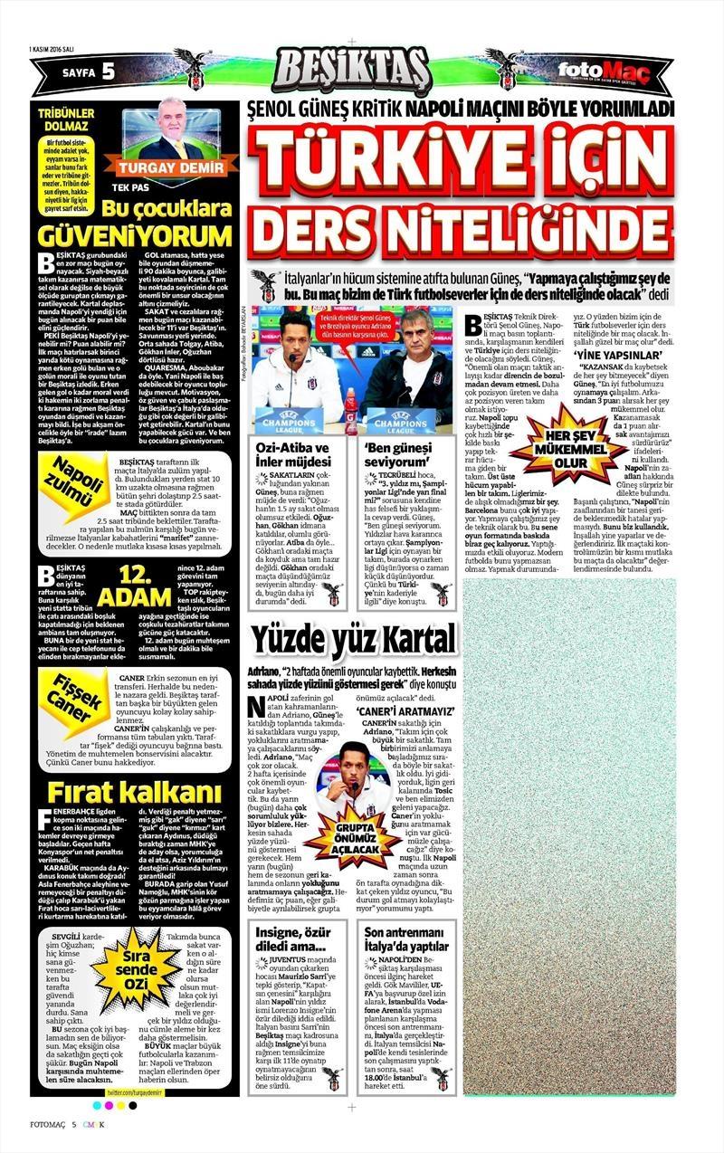 1 Kasım 2016   Gazetelerin Beşiktaş sayfaları 8