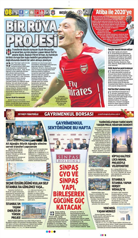 10 Ekim 2017   İşte gazetelerin Beşiktaş manşetleri 1