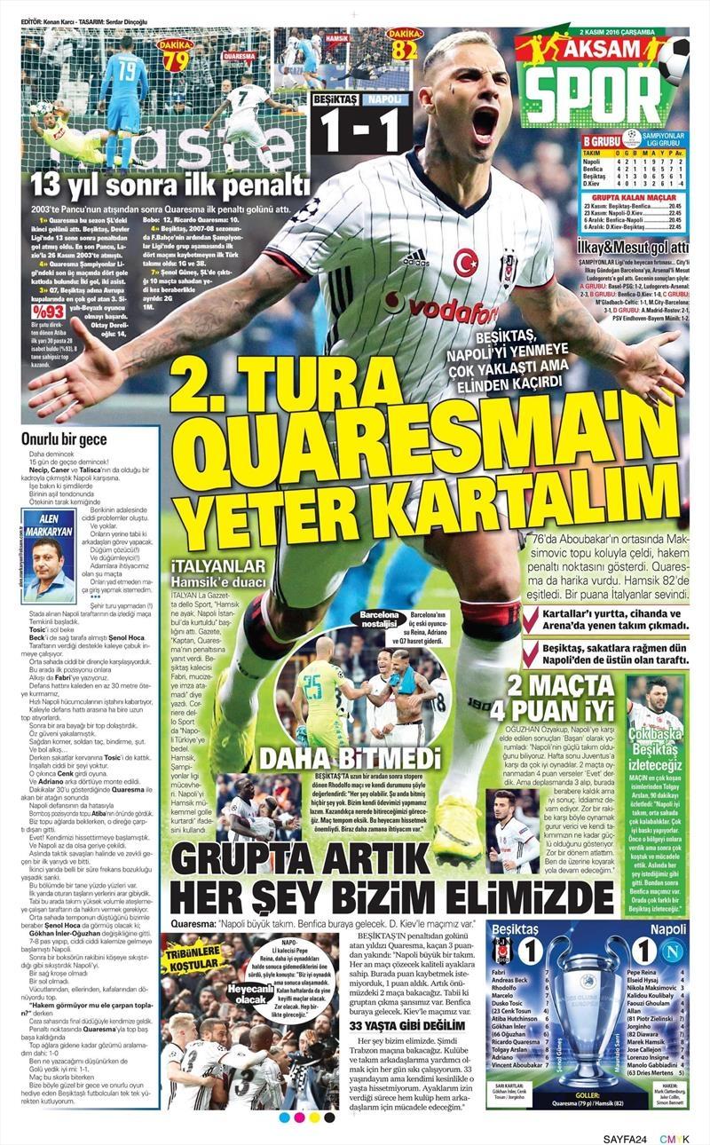 2 Kasım 2016 | Gazetelerin Beşiktaş sayfaları 1