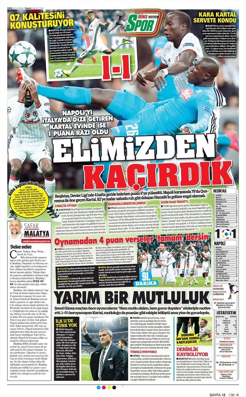 2 Kasım 2016 | Gazetelerin Beşiktaş sayfaları 11