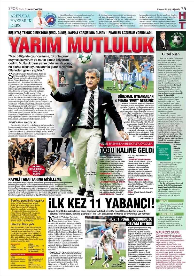 2 Kasım 2016   Gazetelerin Beşiktaş sayfaları 13