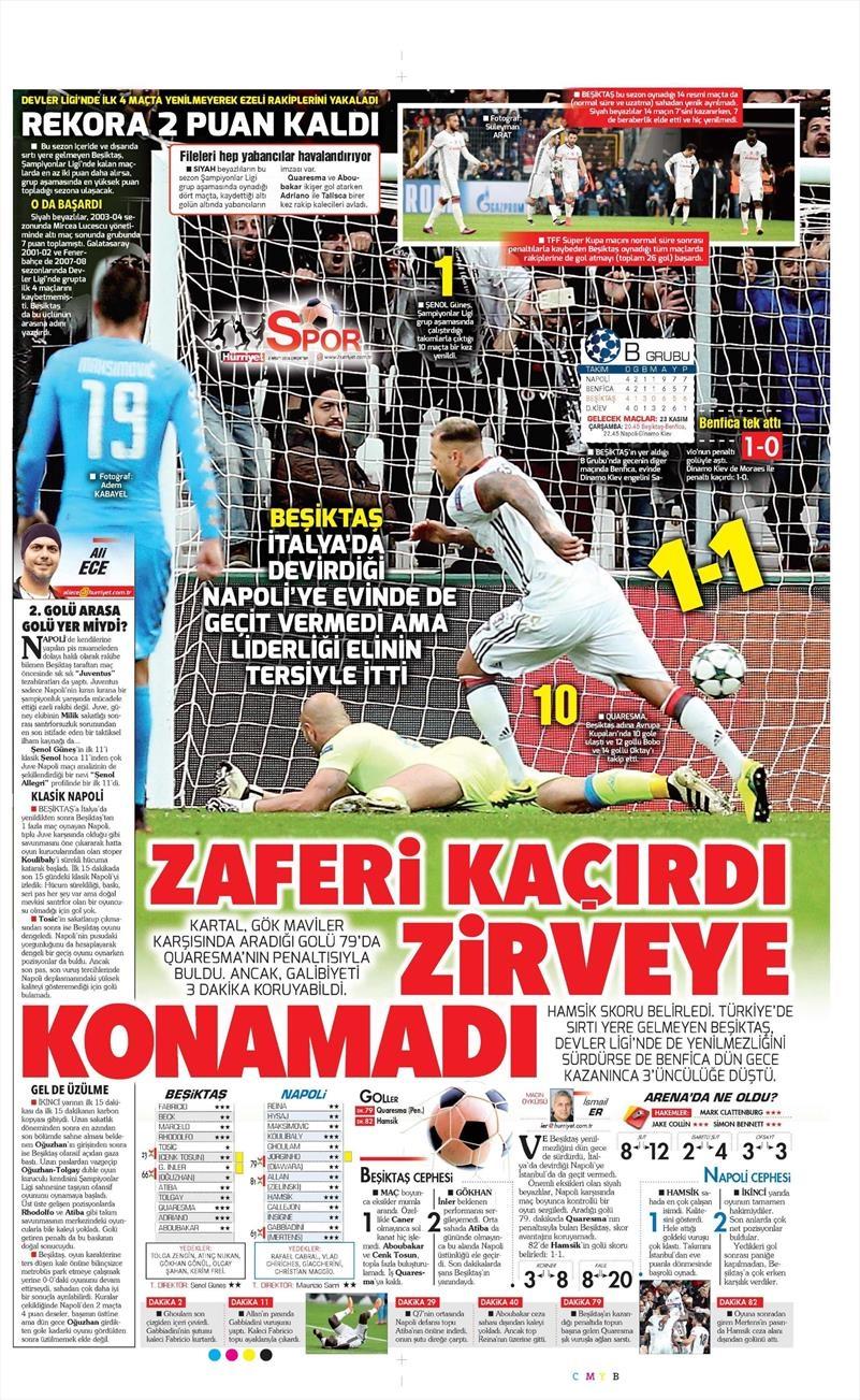 2 Kasım 2016 | Gazetelerin Beşiktaş sayfaları 14