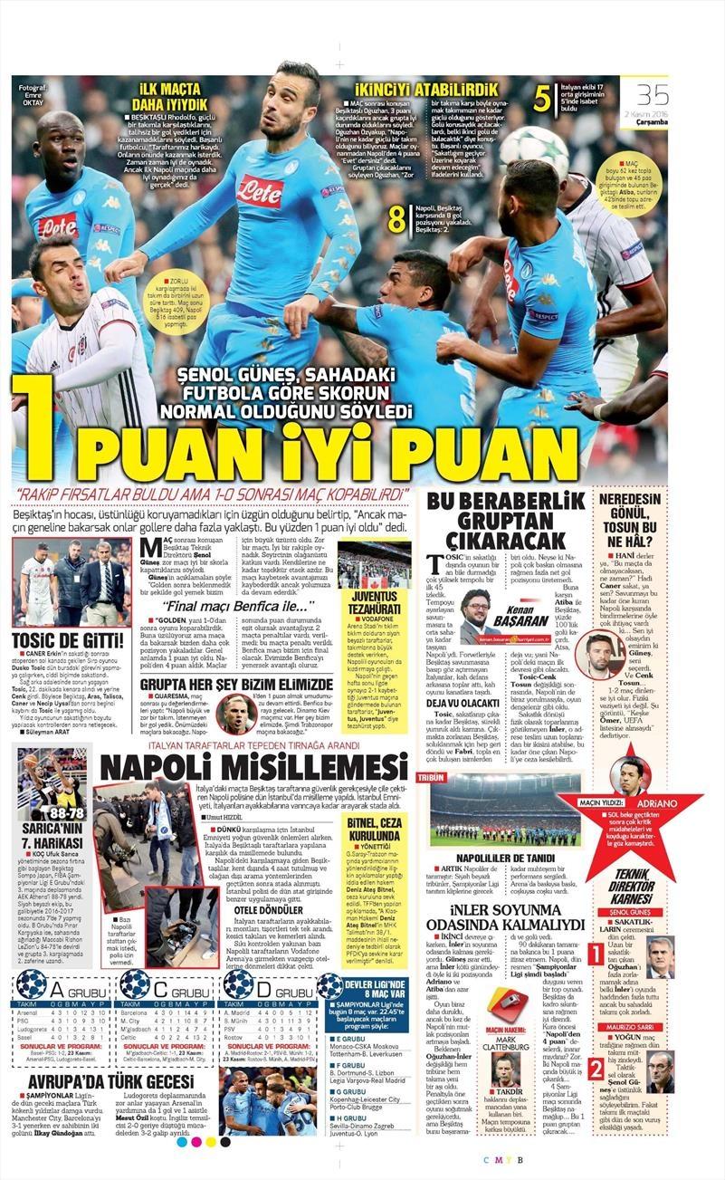 2 Kasım 2016 | Gazetelerin Beşiktaş sayfaları 15