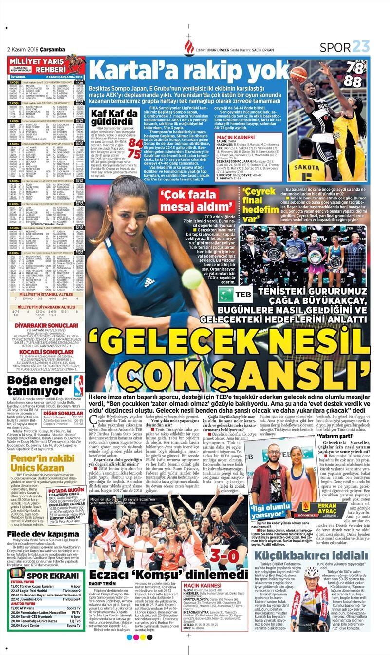 2 Kasım 2016 | Gazetelerin Beşiktaş sayfaları 18