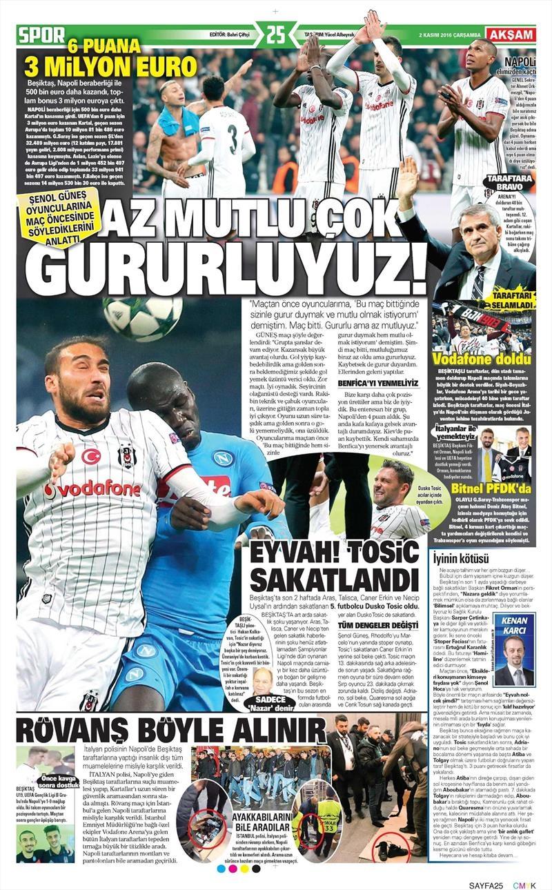 2 Kasım 2016 | Gazetelerin Beşiktaş sayfaları 2