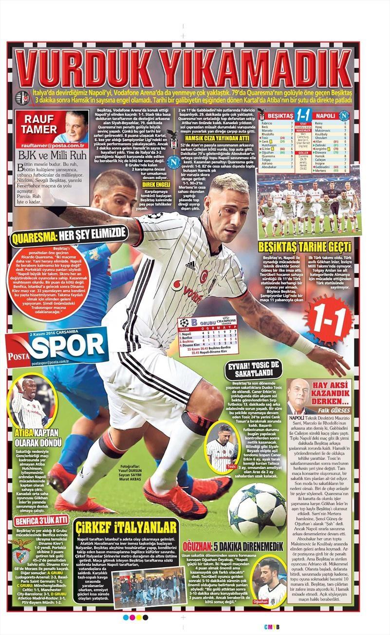 2 Kasım 2016   Gazetelerin Beşiktaş sayfaları 20