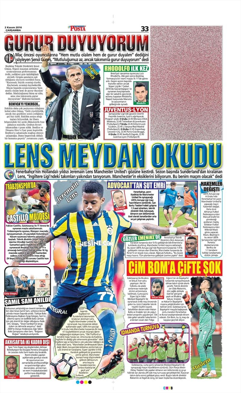2 Kasım 2016   Gazetelerin Beşiktaş sayfaları 21