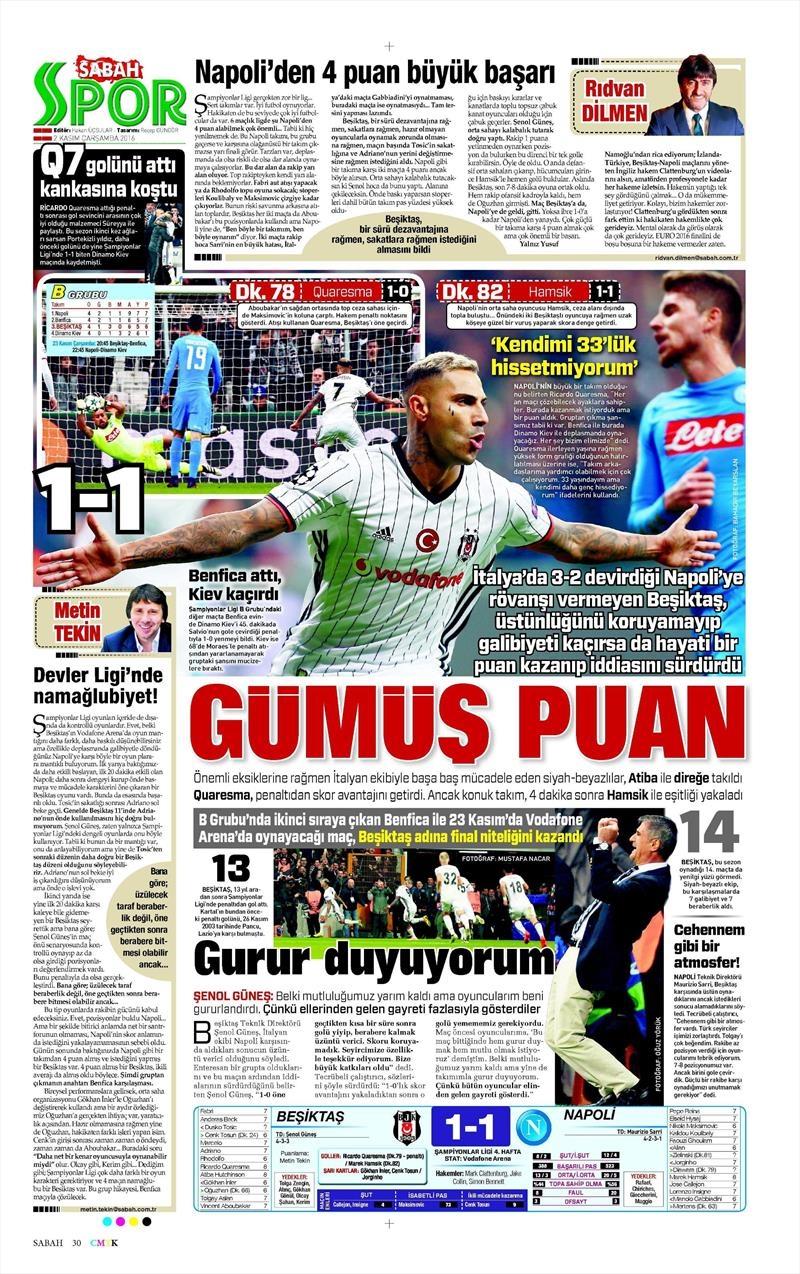 2 Kasım 2016   Gazetelerin Beşiktaş sayfaları 22