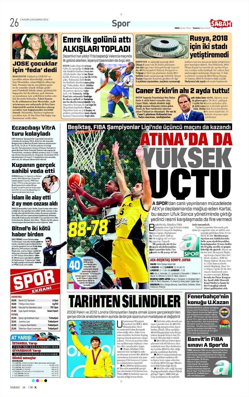 2 Kasım 2016 | Gazetelerin Beşiktaş sayfaları 24
