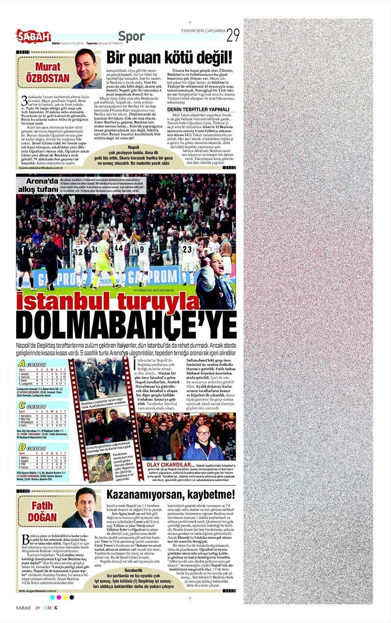 2 Kasım 2016   Gazetelerin Beşiktaş sayfaları 25
