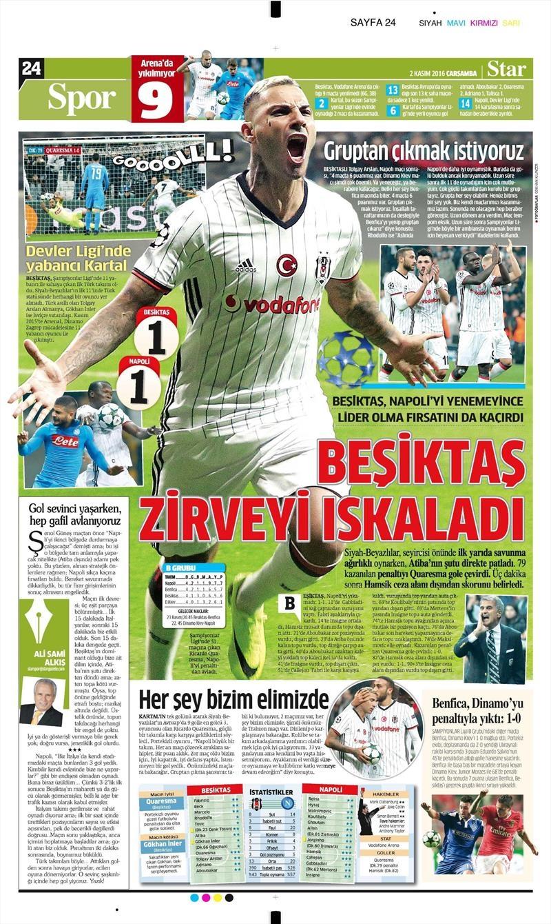 2 Kasım 2016 | Gazetelerin Beşiktaş sayfaları 27