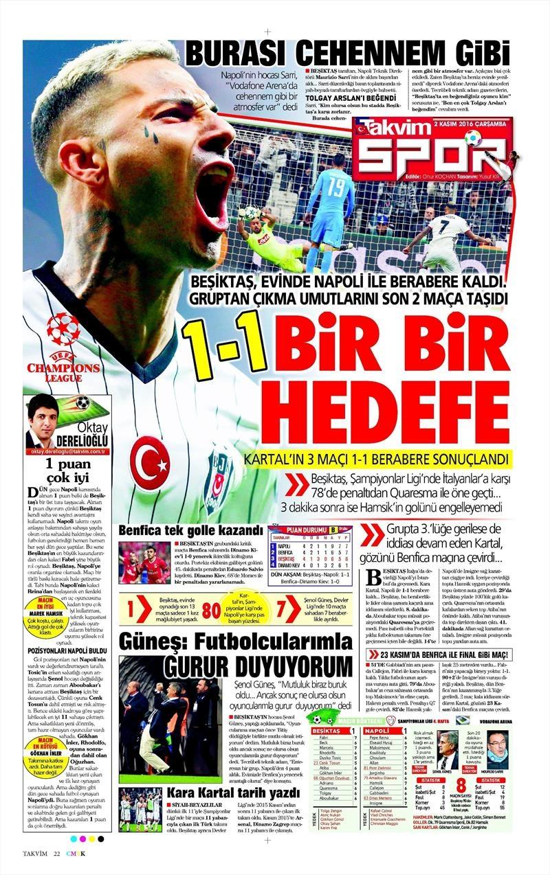 2 Kasım 2016 | Gazetelerin Beşiktaş sayfaları 29