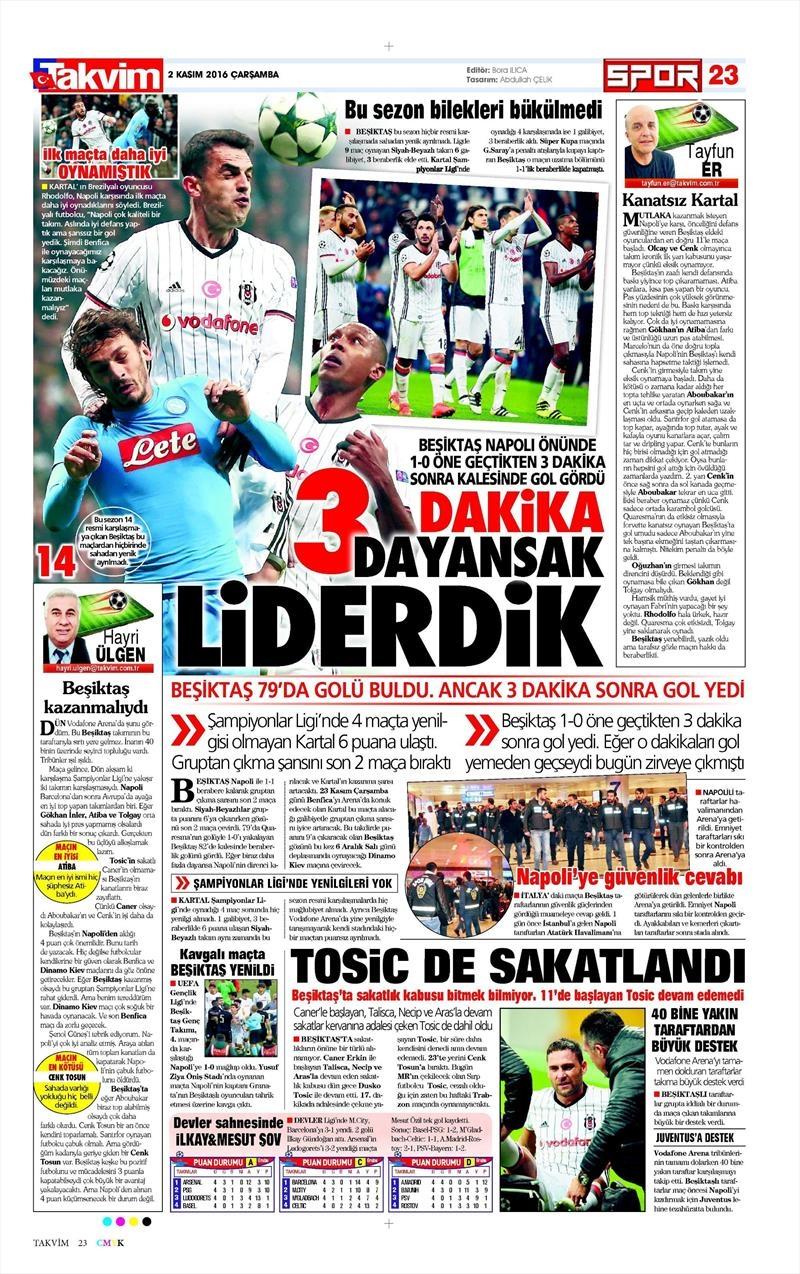 2 Kasım 2016 | Gazetelerin Beşiktaş sayfaları 30