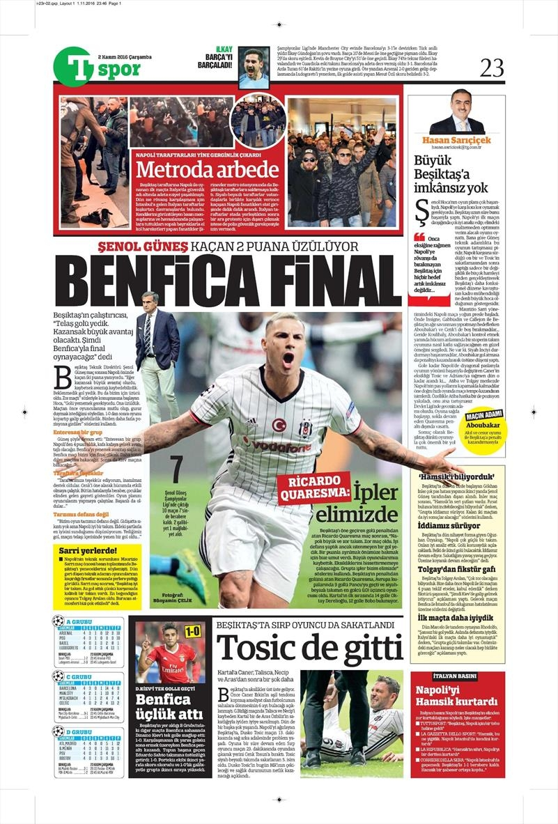 2 Kasım 2016 | Gazetelerin Beşiktaş sayfaları 33