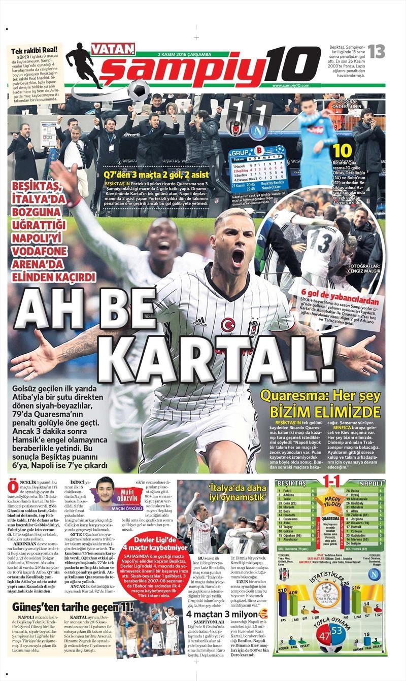 2 Kasım 2016 | Gazetelerin Beşiktaş sayfaları 34