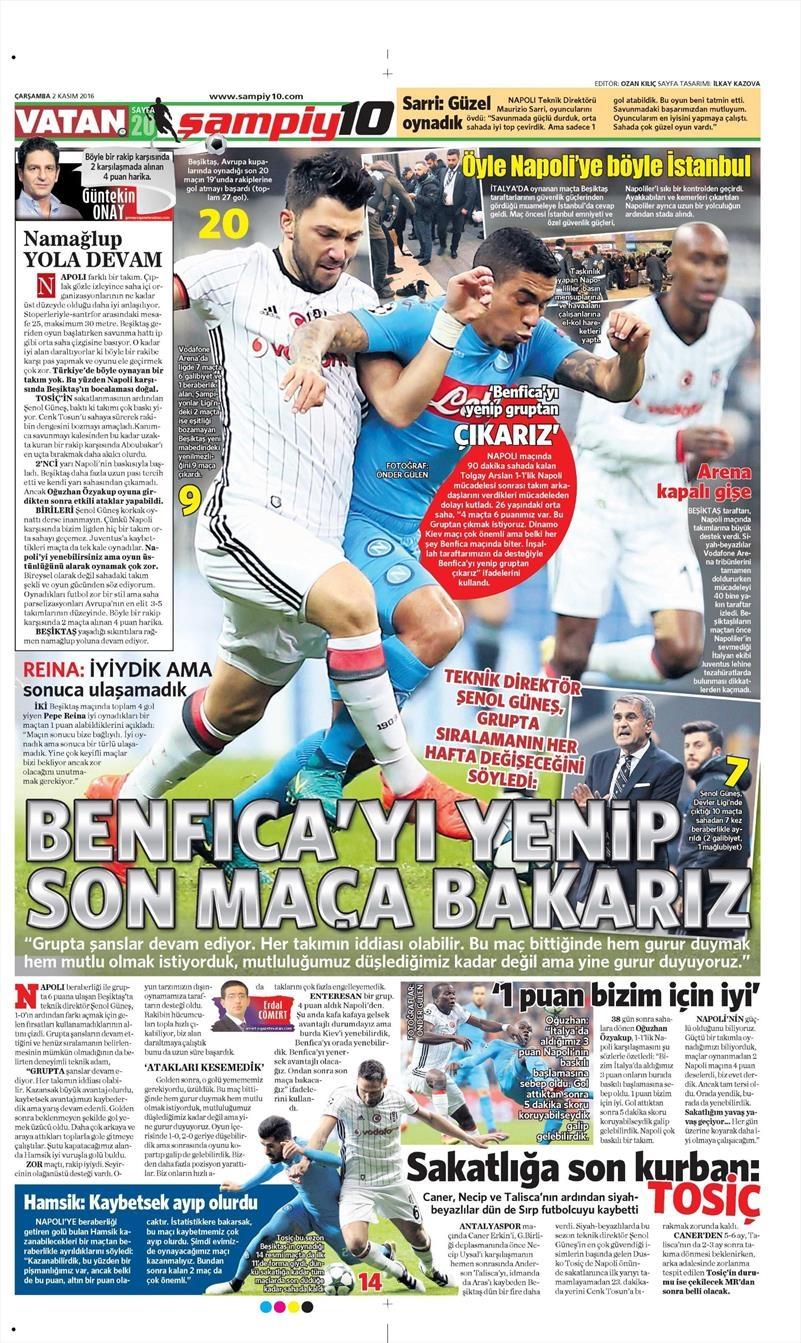 2 Kasım 2016   Gazetelerin Beşiktaş sayfaları 35