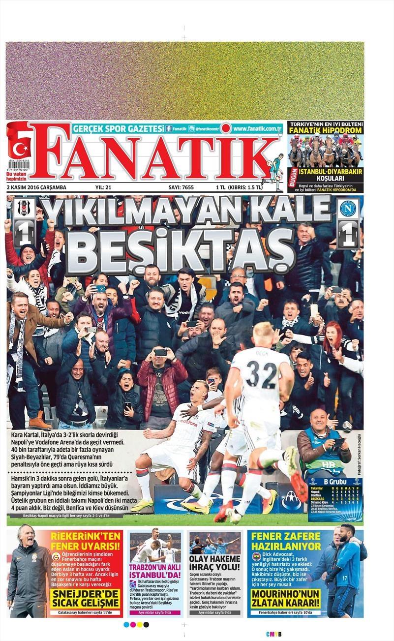 2 Kasım 2016 | Gazetelerin Beşiktaş sayfaları 4