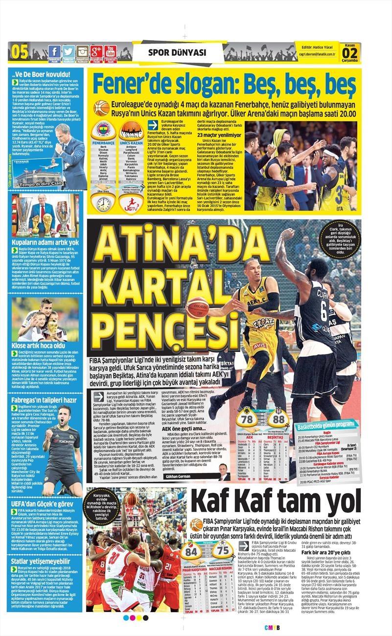 2 Kasım 2016 | Gazetelerin Beşiktaş sayfaları 5