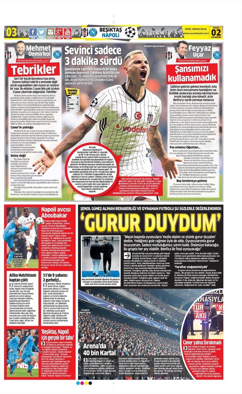 2 Kasım 2016   Gazetelerin Beşiktaş sayfaları 6