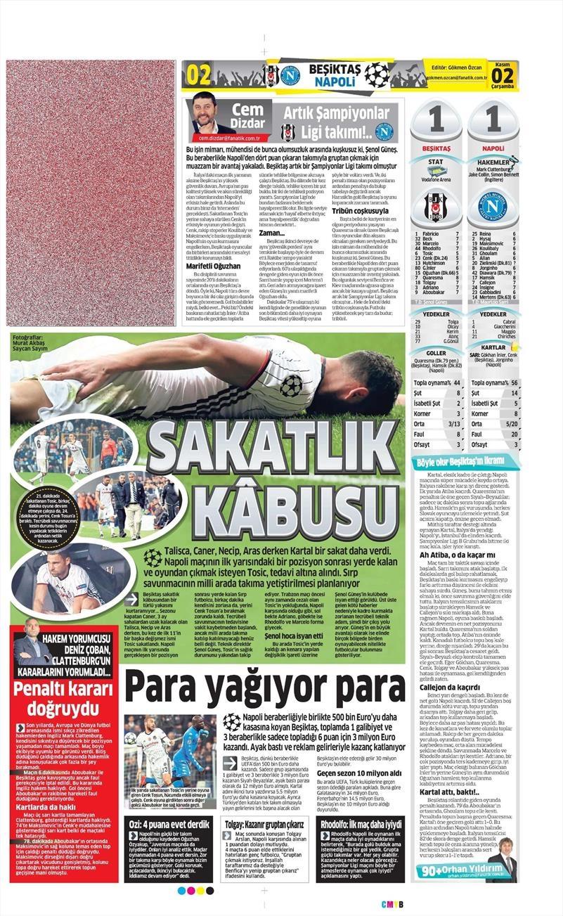 2 Kasım 2016 | Gazetelerin Beşiktaş sayfaları 7