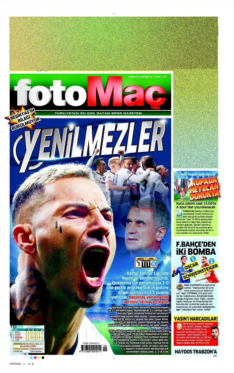 2 Kasım 2016   Gazetelerin Beşiktaş sayfaları 8