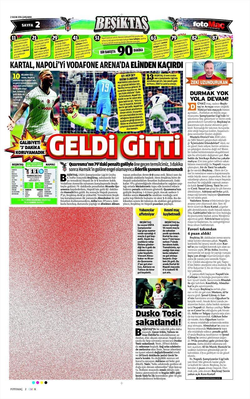 2 Kasım 2016   Gazetelerin Beşiktaş sayfaları 9