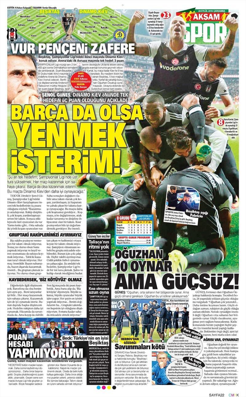 28 Eylül 2016 | Beşiktaş sayfaları 1