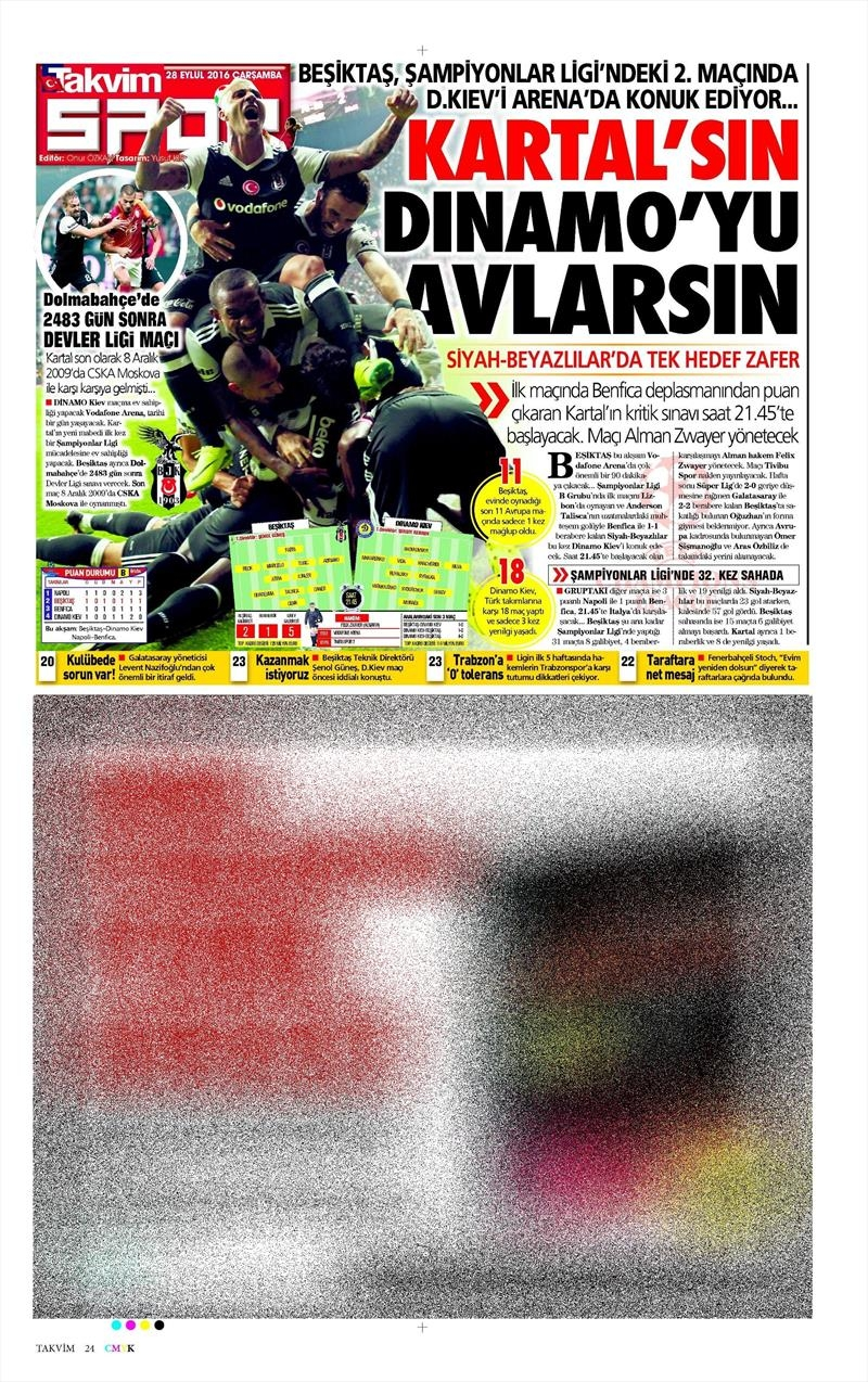 28 Eylül 2016 | Beşiktaş sayfaları 11