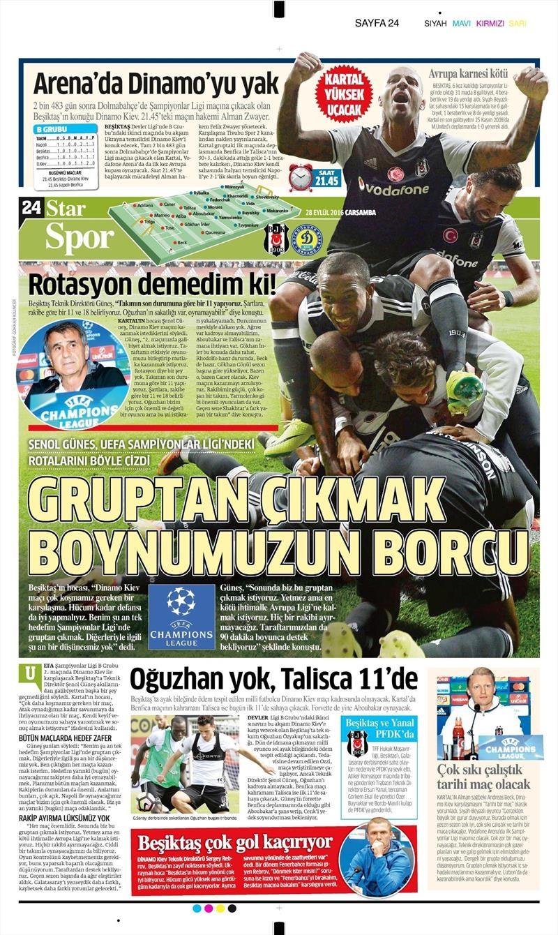 28 Eylül 2016 | Beşiktaş sayfaları 12