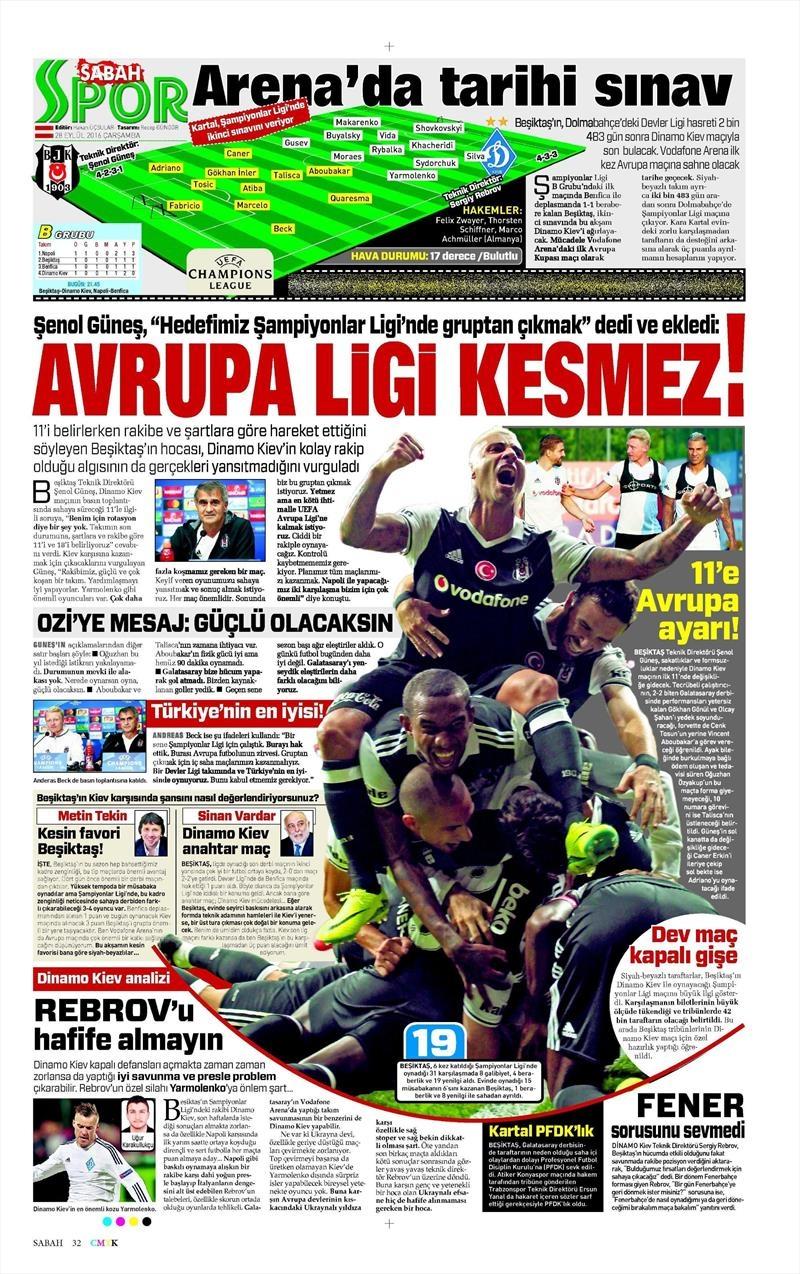 28 Eylül 2016 | Beşiktaş sayfaları 13