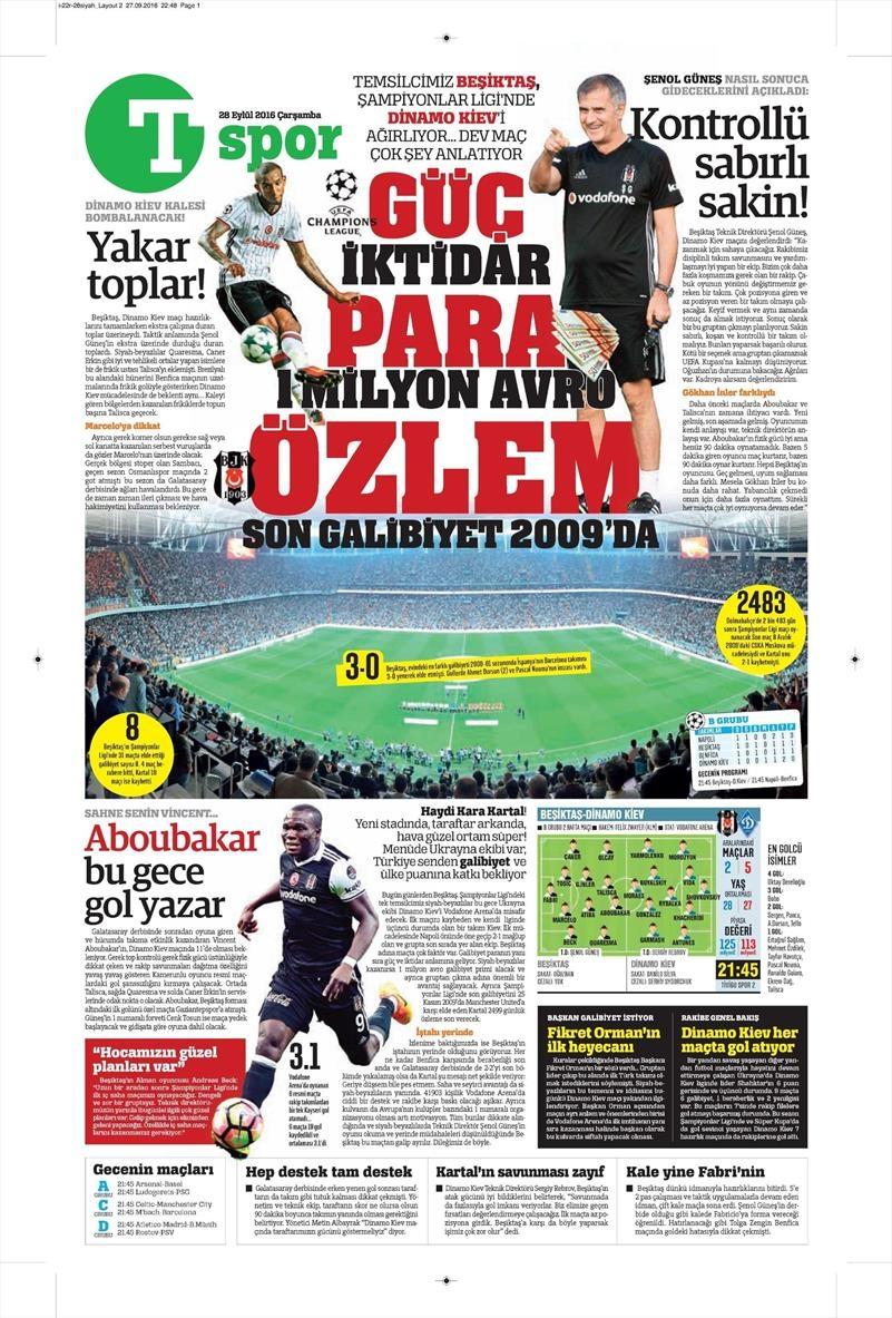 28 Eylül 2016 | Beşiktaş sayfaları 14
