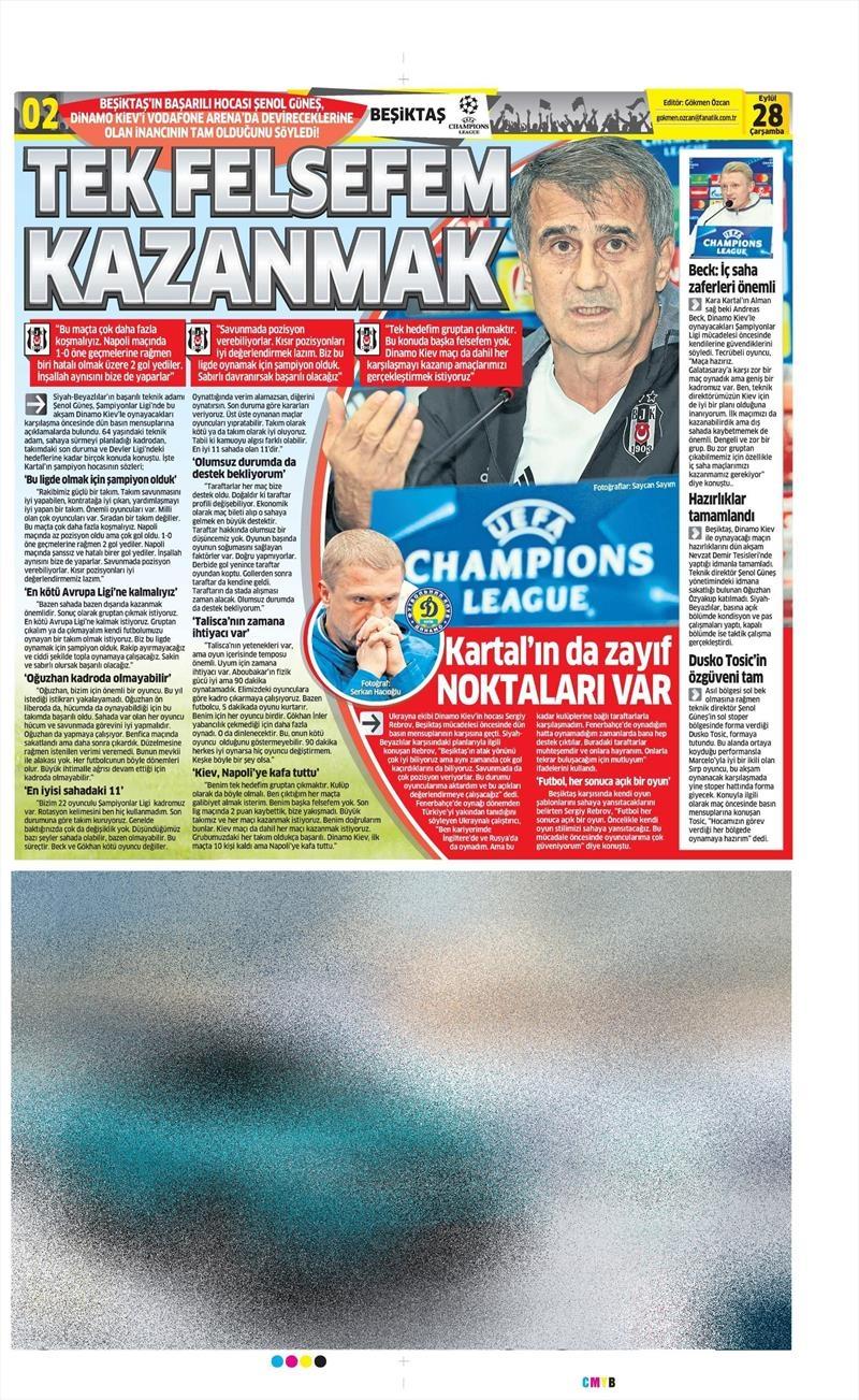 28 Eylül 2016 | Beşiktaş sayfaları 3