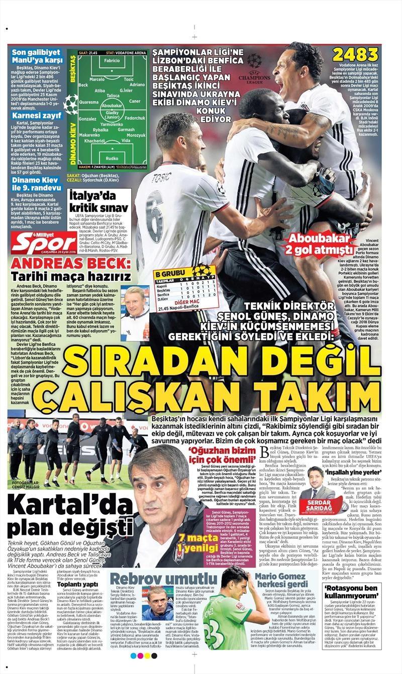 28 Eylül 2016 | Beşiktaş sayfaları 9